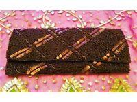 NEW Designer BETH JORDAN Brown Bronze Luxury Luxury Sequin Beaded Handbag Clutch Bag/Purse Christmas