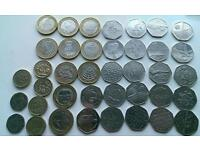 50 pence, 20 pence, 2 pound, 1 pound collection
