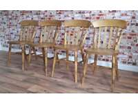Rustic Farmhouse Style Beech Pine Dining Kitchen Slat Back Chairs