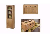 Solid Wood 3 Piece living room Large Sideboard , Display Cabinet & Coffee Table in Light Wax