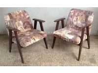 Pair of Vintage Polish Style Listening CHAIRS Furniture Seat Decor Mid-Century