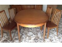 Extending Dining Table with 6 High Back Chairs 1970s Vintage Retro G-Plan Dining Furniture Teak Wood
