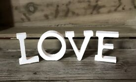 Free standing wooden 'LOVE' letters perfect for weddings or any special occasions