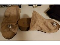 Hessian style sandals summer shoes size 8