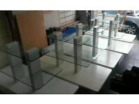 FREE UK DELIVERY. Set of 5...Rare Large white shop glass display tables gondolas used fittings units