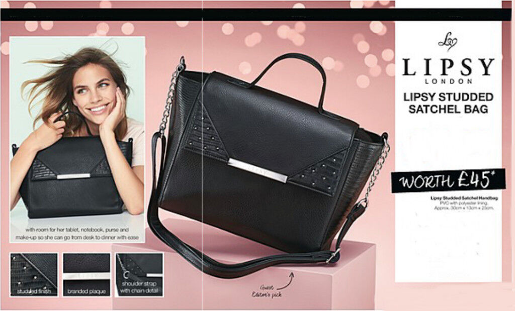 Lipsy Studded Satchel Handbag New Avon Black Quality Bag