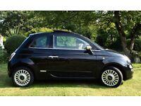 Fiat 500 Lounge *PANORAMIC ROOF*LOW MILEAGE* 2009 Black with cream interior