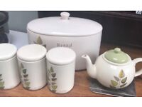 Kitchen set - bread bin, teapot and tea, coffee and sugar caddies - £5 for set