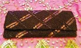 NEW BETH JORDAN DESIGNER BAG HANDBAG CLUTCH BAG Brown Bronze Gold Sequin Bead Luxury Purse PROM