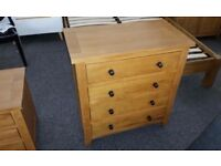 Ex Display Julian Bowen Marlborough Oak 4 Drawer Chest **CAN DELIVER**