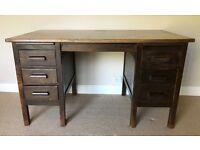 Vintage Retro 1940/50's 5 Drawer Abbess Style Solid Oak Twin Pedestal Desk