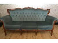 Button back vintage style 3 seater sofa