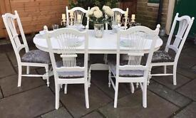 Shabby Chic Vintage Dining Table & 6 Chairs
