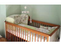 Little Acorns Nursery Furniture Set Vanilla 2in1 Cot Bed (with mattress),Changing Unit & Wardrobe