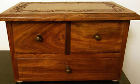 WOODEN TRINKET BOX, 3 DRAWER, ORNAMENTAL CARVED TOP, VERY GOOD CONDITION - £25
