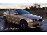 VERY RARE IMMACULATE LOW MILES BMW 318 Ci Coupe metallic gold, half leather massive history long mot