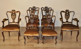 Attractive Set Of Eight Quality Antique Victorian Carved Mahogany Dining Chairs