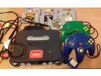 Nintendo 64 console with 2 controllers and 7 games - no box