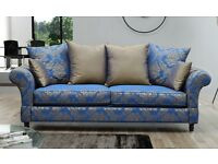 Beautiful 3 Seater sofa for sale, Blue & Gold