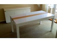 White high gloss table and cabinet