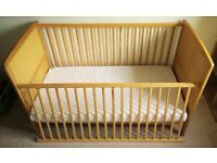 Kiddicare Cot bed + Spring Mattress toddler bed Junior bed nursery baby children bed baby cot wooden