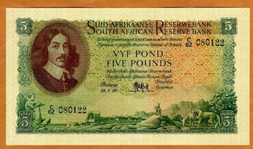 South Africa, 5 Pounds, 1958 P-97c, XF > 62 years old, Sailboat