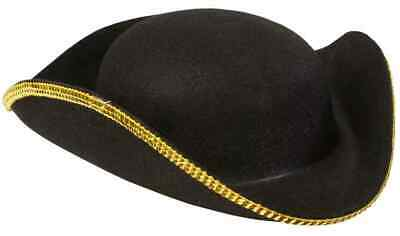 Halloween Costume Corner (Tri Corner Hat Corn Pirate Colonial Black Gold Halloween Child Costume)