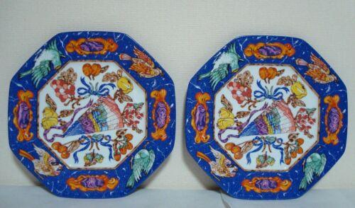 """Authentic Hermes   Porcelain  2 Plates """"Marqueterie De Pierres d"""
