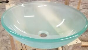 Frosted Glass Round Bathroom Vanity Vessel Sink