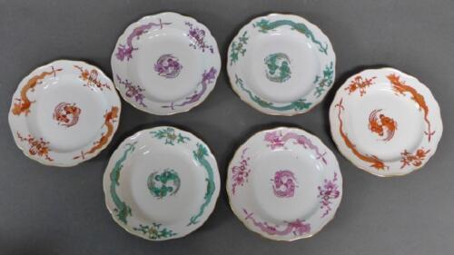 6 Meissen Porcelain Dragon Plates