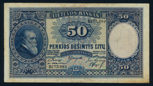 Lithuania 50 Litu 1928 KP-24a Banknote Fine L014493