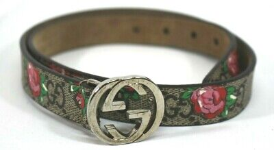 Gucci Signature Flower Kid Belt With GG Buckle  258395-9CV0N-L-214351
