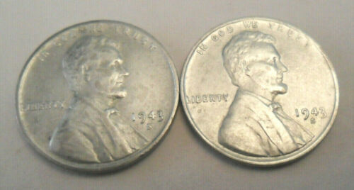 1943 S Steel Wheat Cent / Penny Set  (2 Coins!)   *FINE OR BETTER*   *FREE SHIP*