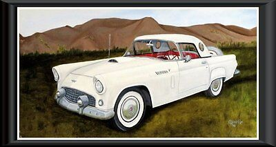 Auto 1956 WHITE T.BIRD  Orig. oil painting by Artist Barella Frame not included
