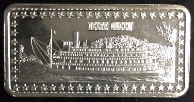 DELTA QUEEN RIVERBOAT STEAMBOAT MISSISSIPPI MEMPHIS 999 SILVER ART BAR 1 TROY OZ - Mississippi Queen Riverboat