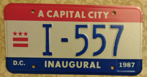 1987 WASHINGTON DISTRICT OF COLUMBIA MAYORAL I-557 INAUGURAL LICENSE PLATE
