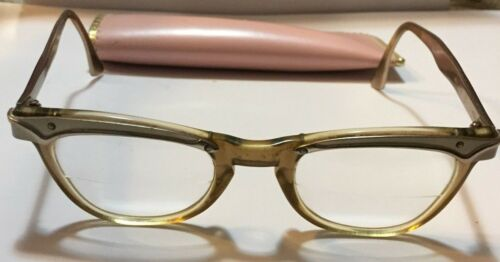 AO American Optical vintage aluminum cat eye eyeglass frames  5 1/2