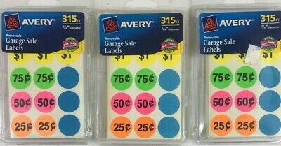 3 Packs Avery Removable Garage Sale Labels 0.75 Inches Assorted Colors Round 315