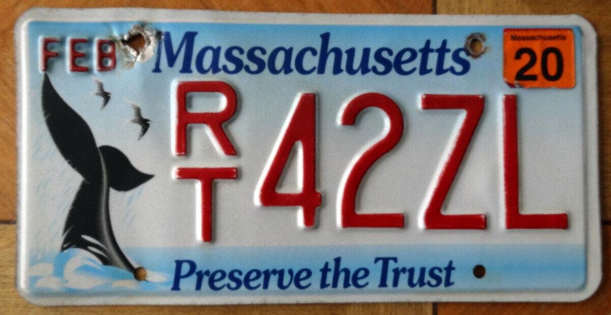 Nummernschild USA Kennzeichen MASSACHUSETTS Wal Grafik RT 42ZL WHALE TAIL