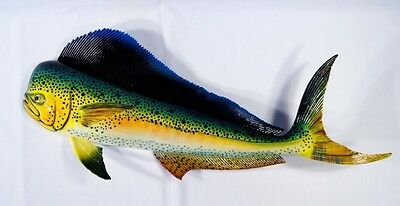 "Hand Painted 28"" Mahi Dolphin Salt Water Fishing Wall Mount Decor Sculpture 28G"