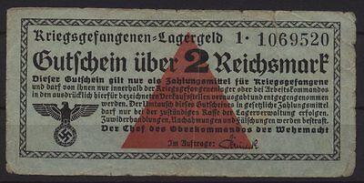 [18190] - KRIEGSGEFANGENENLAGERGELD POW money, 2 RM, o. D. (1939-1945), Ro. 519a