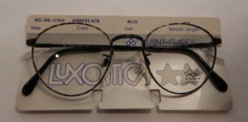 Vintage Luxottica 400 Amberblack 49/21 P3 Eyeglass Frame New Old Stock #354