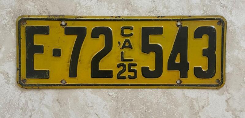 1925 Single CALIFORNIA License Plate NOT DMV Clear Display