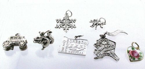 13.57 GRAMS SEVEN ASSORTED STERLING SILVER CHARMS PENDANT CLOSEOUT ASJC20