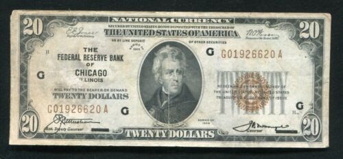 FR. 1870-G 1929 $20 FRBN FEDERAL RESERVE BANK NOTE CHICAGO, IL (F)