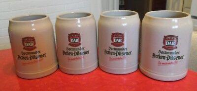 4 Vintage DAB (Dortmunder Actien-Pilsener Beer) 0.5 Liter Stoneware Mug