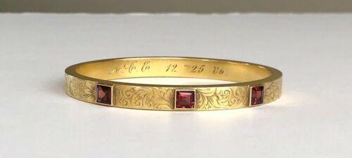 Antique Victorian 14kt Gold + Garnets Bangle Bracelet 1906 Christmas Engraving