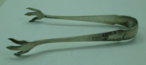 Antique Whiting Sterling Silver Madam Jumel Serving Tongs 1909 Monogram M 772D