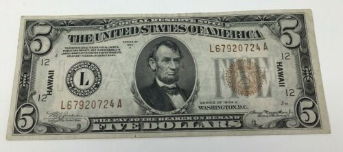 $5 Series of 1934-A Five dollar HAWAII stamped brown seal Federal Reserve Note L