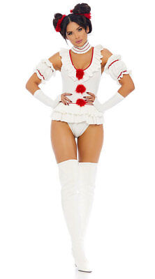 S/M Forplay Let's Play a Game Sexy Movie Clown Character Costume IT](Scary Female Clown Costume)